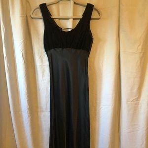 Black long velvet sateen dress. Worn once.